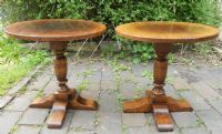 Pair Oak Pedestal Coffee Tables by Titchmarsh & Goodwin